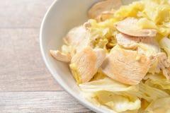Дом сделал Тайванем очень вкусную капусту куриной грудки еды для Ketogenic здоровья диеты и тела, места для текста, взгляд сверху Стоковая Фотография RF