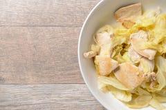 Дом сделал Тайванем очень вкусную капусту куриной грудки еды для Ketogenic здоровья диеты и тела, места для текста, взгляд сверху Стоковые Изображения