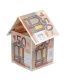 Дом сделанный счетов денег евро Стоковые Изображения RF