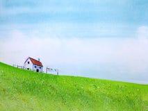 дом сельской местности ландшафта мультфильма в зеленом цветке поля луга с голубым небом и облаком иллюстрация вектора