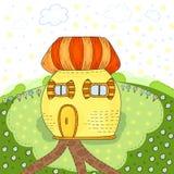 Дом сказки красочный милый в стиле шаржа Волшебная земля Иллюстрация вектора нарисованная рукой Printable шаблон Стоковые Фото