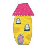 Дом сказки красочный милый в стиле шаржа Иллюстрация вектора нарисованная рукой Стоковое фото RF