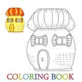 Дом сказки красочный милый в стиле шаржа Цвет и контур, иллюстрация вектора книжка-раскраски Стоковые Фотографии RF