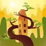Дом сказки с крышей, переплетаннсяой с деревом на горах, предпосылка холмов Погода лета, горячее солнце светит, зеленые кроны иллюстрация вектора