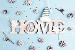Дом слова зимних отдыхов со снегом покрасил конусы и звезды сосны на голубой предпосылке стоковые изображения rf