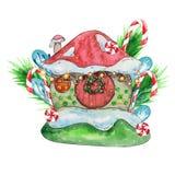 Дом снега, иллюстрация акварели милого дома иллюстрация штока
