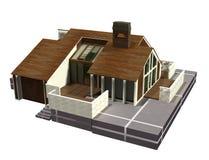 Дом современной семьи пригородный Стоковое Изображение RF