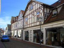 Дом средневекового тимберса обрамляя Германия Quakenbrueck Стоковое Изображение RF
