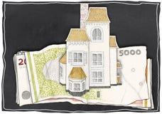 Дом стоит на деньгах Стоковые Фотографии RF