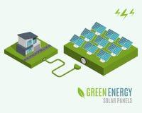 Дом с альтернативной энергией зеленого цвета Eco, концепцией плоской сети 3d равновеликой infographic Стоковое Фото