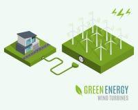 Дом с альтернативной энергией зеленого цвета Eco, концепцией плоской сети 3d равновеликой infographic Стоковые Фото