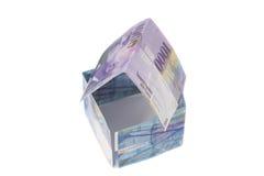 Дом сделанный банкнот швейцарских франков валюта Швейцарии Стоковое фото RF