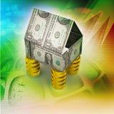 Дом сделанный валютой и монетками Стоковые Фотографии RF