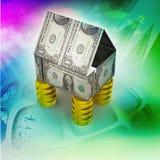 Дом сделанный валютой и монетками Стоковое Изображение RF