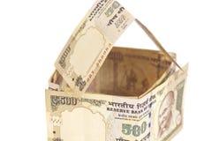 Дом сделанный индейца банкноты 500 рупий Стоковые Фотографии RF