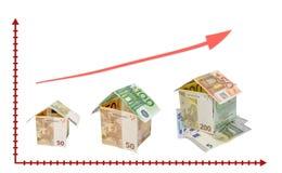 Дом сделанный от изолированных долларовых банкнот с ключом на белом backgrou Стоковое фото RF