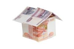 Дом сделанный от различных русских банкнот Стоковое Фото