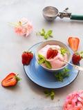 Дом сделал мороженое клубники в шаре Стоковые Изображения RF