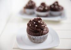 Дом сделал пирожные Buttercream шоколада Стоковое Изображение