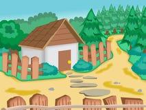 Дом с загородкой и деревьями Стоковое Фото