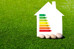 Дом с знаком энергосберегающего на предпосылке травы стоковые фотографии rf