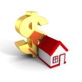 Дом с красной крышей и большим золотистым символом доллара Стоковое Изображение