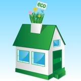 Дом с травой и цветками Иллюстрация штока