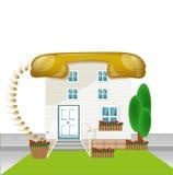 Дом с telephon крыши, соединяет зачатие, значок соединять-дома иллюстрация штока