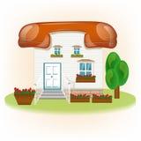 Дом с telephon крыши, соединяет зачатие бесплатная иллюстрация
