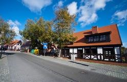 Дом тимберса в Польше, Ustka стоковая фотография rf