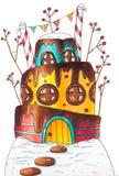 Дом торта зимы с ягодами и конфетами стоковое изображение rf