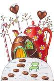 Дом тросточки и чайника конфеты зимы с ягодами и конфетами стоковые изображения