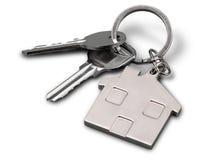 дом фокуса имущества предпосылки агента gviving изолировала риэлтор нового владельца ключей реальный к белизне Стоковые Изображения RF