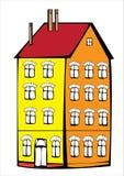 Дом цвета вектора винтажный изолированный на белизне Стоковые Фото
