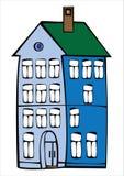 Дом цвета вектора винтажный изолированный на белизне Стоковые Изображения