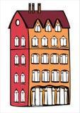 Дом цвета вектора винтажный изолированный на белизне Стоковое Изображение RF