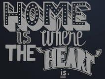 дом цитаты где сердце с различной стилистической шрифтами нарисованными рукой стоковые изображения