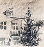 Дом, чертеж карандаша Стоковое Изображение RF