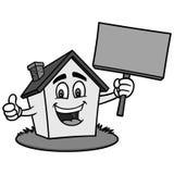 Дом шаржа с иллюстрацией знака Стоковые Фотографии RF