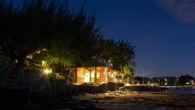 Дом шлюпки на канонирах Маврикии Pointe пляжа вспомогательных Стоковое Фото