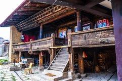 Дом людей сцен-тибетца тибетского плато стоковое изображение