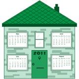 дом 2011 календара зеленая Стоковое Изображение