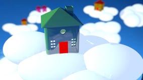 Дом Cristal зеленый в облаках Стоковые Изображения RF