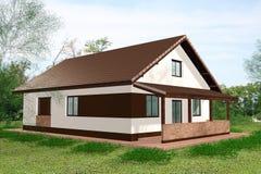 Дом 3D представляет назад взгляд стоковое фото