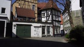 Дом Fachwerkhaus традиционный немецкий Полу-Timbered, Германия видеоматериал