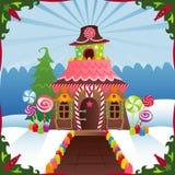 дом gingerbread снежная Стоковая Фотография RF