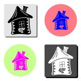 Дом Grunge Плоский значок вектора бесплатная иллюстрация