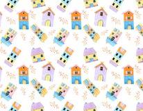 Дом Lilltle милый и картина цветка пинка безшовная в акварели иллюстрация штока