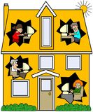 дом networked иллюстрация вектора