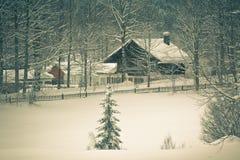 Дом Snowy высокогорная в древесинах Стоковые Фотографии RF